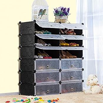 UNICOO   Multi Use DIY Plastic 12 Cube Shoe Rack ,Organizer, Bookcase, Shoes  Cabinet (26, Black With White Doors) Part 46