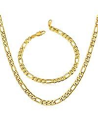 Men's Stainless Steel Italian Solid Figaro Chain Necklace & Bracelet Set