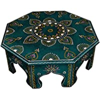 Traditional Handmade Room Decorative Wooden Bajot Table & Indian Chowki 17 X 17 X 6 Inches