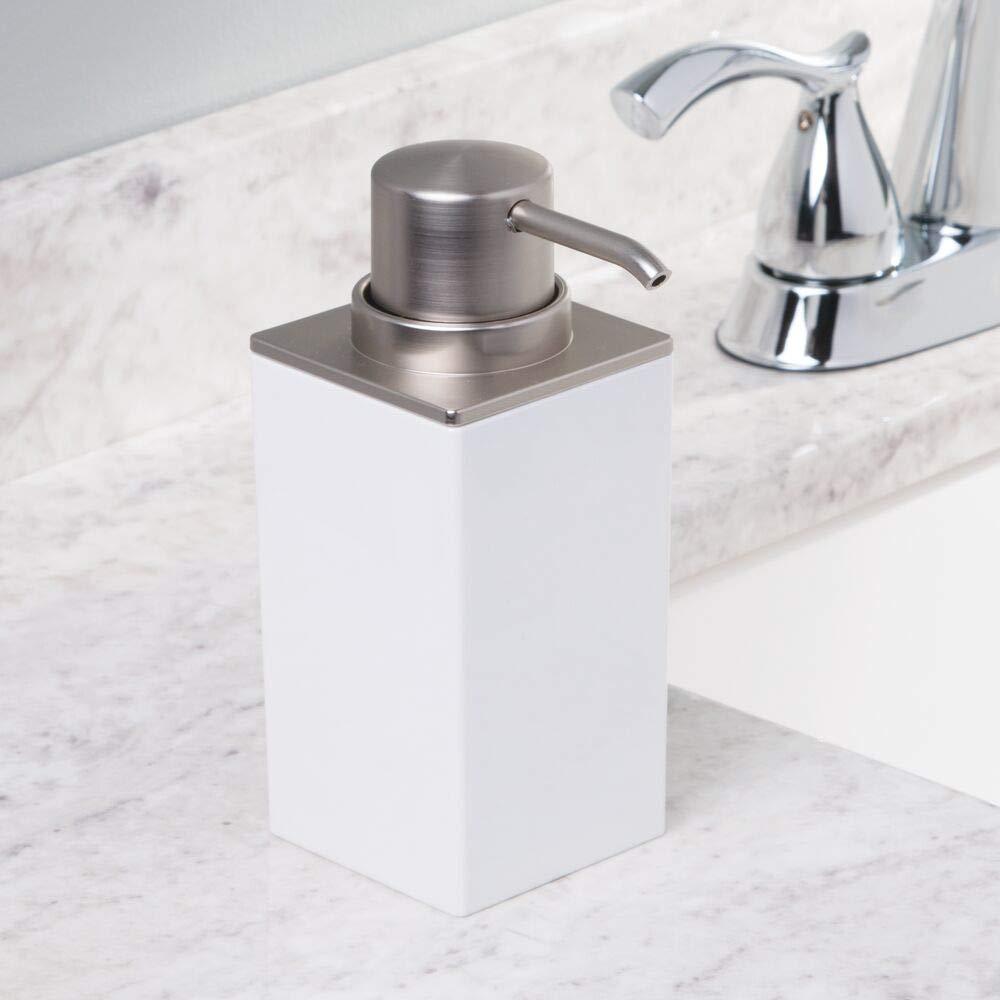 Portasapone ideale per bagno e cucina Elegante dosatore sapone in plastica mDesign Set da 2 Dispenser sapone ricaricabile bianco//argento