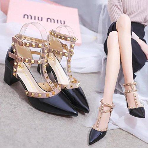 Shoes Yoo Épais Femmes A La Peu Femme Heel Métaux High Baotou Vis Rivet Bouche À Sangle Fait Profonde SHOESHAOGE À EU39 Simple Sandales Avec Chaussures wRpqxH