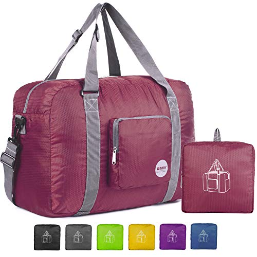 l Duffel Bag Luggage Sports Gym Water Resistant Nylon (Wine Red) ()