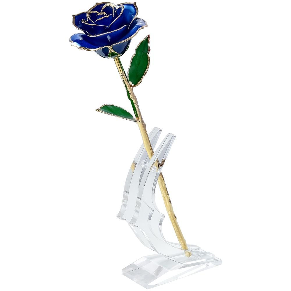 Polend Love forever Long Stem Dipped 24k Gold Foil Trim Rose,With the Clear Crystal Stand,Best Gift for Valentine's Day Gifts,Mother's Day, Anniversary, Birthday Gift,Christmas(Blue)