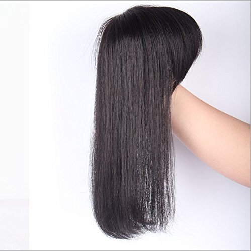 3.9'4.3'Real Human long Hair hair topper clip in/on hair piece with bangs for women hair loss Thin hair Natrual black(Length 15'/38cm) Yudit