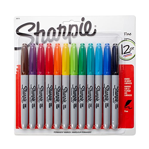 Sharpie Permanent Markers, Fine Point, Assorted Colors, 12-Count