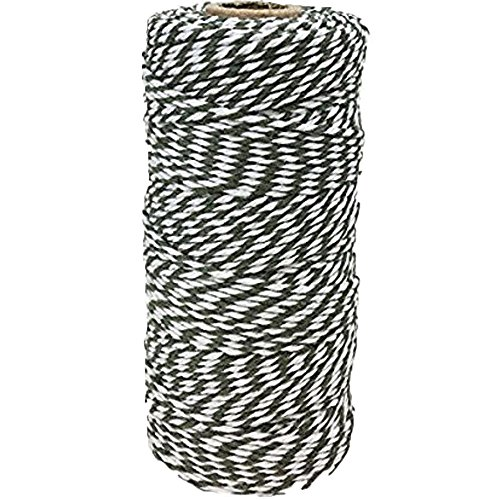 (Just Artifacts ECO Baker's Twine 110yd 12Ply Striped Olive Green- Decorative Bakers Twine for DIY Crafts and Gift Wrapping)