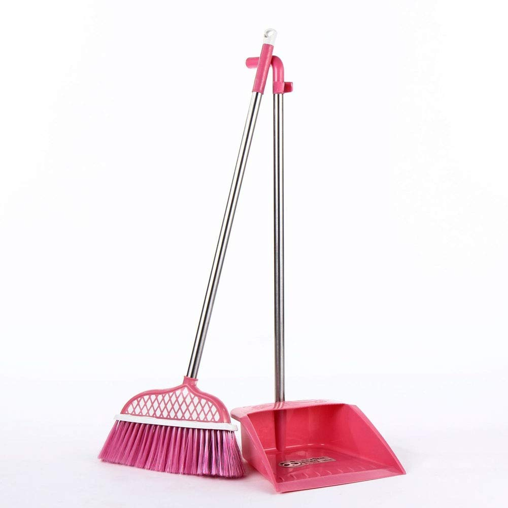 Stainless Steel Rod Broom Set Plastic Broom Combination Dust Broom Cleaning Set (Color : Pink) by Broom&Dustpan