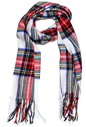 Geoffrey Beene Fashion Pattern Woven Scarf Made in Italy Cashme White/Red - Fine Cashmere Yarn
