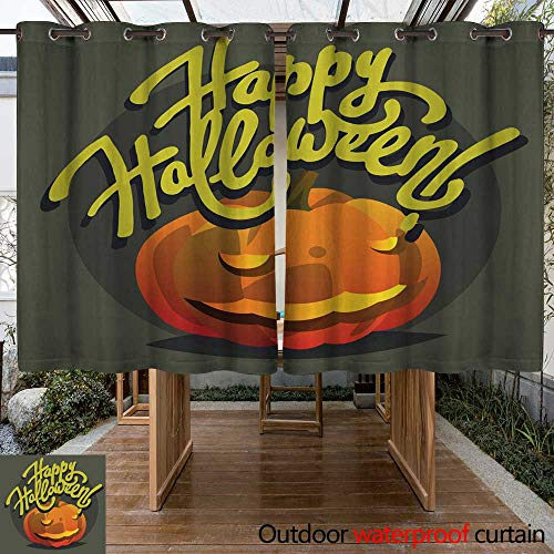 Outdoor Ultraviolet Protective Curtains Happy Halloween Hand Drawn Lettering Postcards with Pumpkin W55 x L72 -