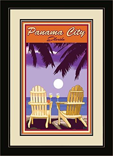 Northwest Art Mall JK-5692 MFGDM ACPW Panama City Florida Adirondack Chairs Palms White Wine Framed Wall Art by Artist Joanne Kollman, 13