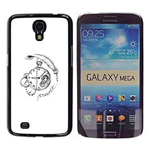 LASTONE PHONE CASE / Slim Protector Hard Shell Cover Case for Samsung Galaxy Mega 6.3 I9200 SGH-i527 / Write Watch White Black