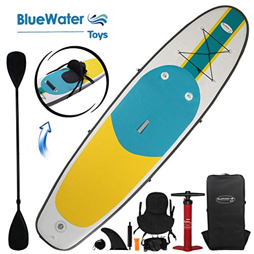 10' Inflatable Stand Up Paddle Board / Kayak And SUP! (6 Inches Thick, 32 Inch Wide Stance Width) |11-Piece Accessory Set That Includes Convertible Paddle, Kayak Seat, Travel Backpack, And More!