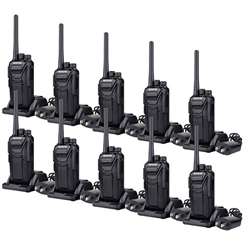 (Retevis RT27 Walkie Talkies Rechargeable Long Range for Adults Encryption Security Heavy Duty Two-Way Radios (Black,10 Pack))
