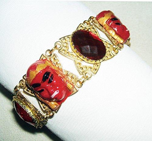 Cuff Signed Bracelet (ASIAN PRINCESS WARRIOR PANEL BRACELET w Red Glass Stones Retro Designer Signed)