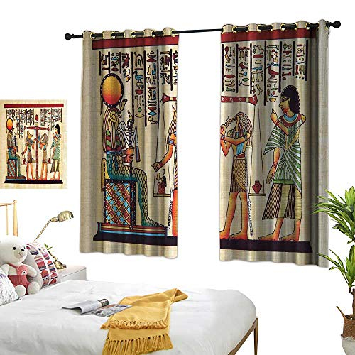 Style Alphabet Photo Manuscript - Room Darkened Heat Insulation Curtain Egyptian Papyrus with Egyptian Ancient Manuscript and Historical Scenery Picture Print Simple Style 72
