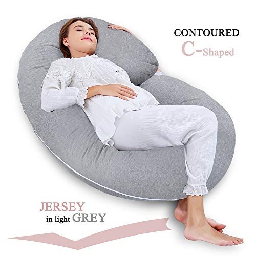 INSEN Pregnancy Pillow with Jersey Cover,C Shaped Full Body Pillow for Pregnant Women