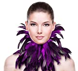 ZAKIA Gothic Natural Real Feather Choker Necklace Neck Wrap Collar Halloween Accessory (Purple)
