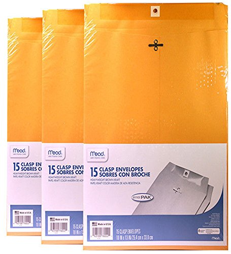 Mead 10X13 Clasp Envelopes, Office Pack 15 Count (Pack of (Mead Heavyweight Brown Kraft Clasp)
