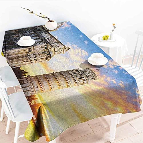 EwaskyOnline Outdoor Tablecloth Rectangular,Italy Place of Miracoli Complex