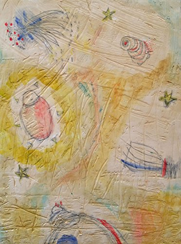 Pixie Dust. Abstract Baby Jesus Buddha Star Boat Painting. Watercolor fresco. - o*Live ORIGINAL by o*Live