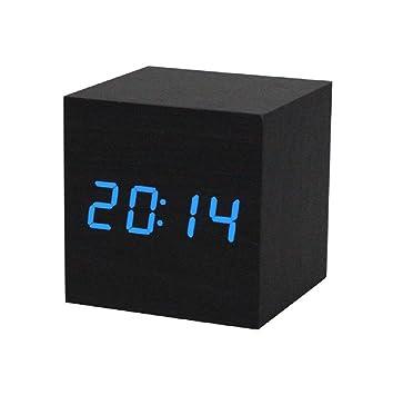 Sannysis® LED Madera Digital Escritorio de alarma; Negro Reloj Control de voz (Azul): Amazon.es: Hogar