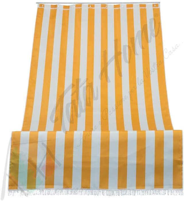 Tenda da Sole a Righe per Balcone Veranda o Terrazzo con Anelli e Ganci Tessuto Resistente da Esterno Misura cm 140x250 Colore Verde