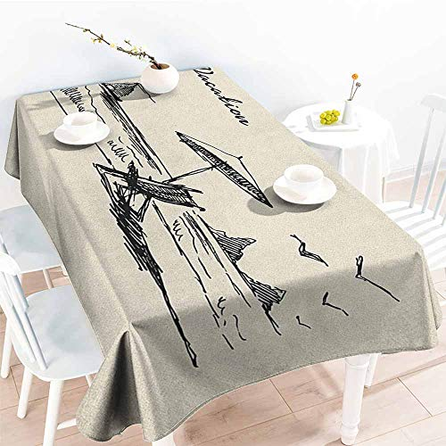 (familytaste Beach,Oblong Tablecloth Hand Drawn Vacation Doodle Sketch Style with Rock Formations Boat and Birds Seaside 52