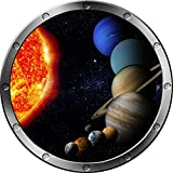 "12"" Porthole Instant Space Ship Window View SOLAR SYSTEM #4 SILVER Wall Sticker Kids Decal Room Home Art Décor Graphic SMALL"