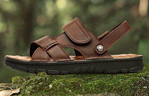 Happyshop (tm) Mens Koe Lederen Dual Purpose Sandalen Verstelbare Magische Tape Open Teen Platform Mannelijke Sandalen Bijenwas