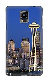 Case For Galaxy Note 4 Tpu Phone Case Cover(seattle At Dusk) For Thanksgiving Day's Gift