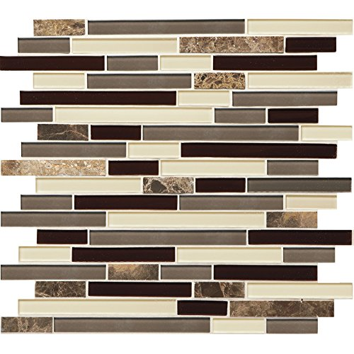 American Tile Marble (American Olean Mosaic Chateau Emperador Linear Mosaic Stone and Glass Marble Wall Tile 6 TILES (Common: 12-in x 12-in; Actual: 11.75-in x 13-in) 6 TILES in box)