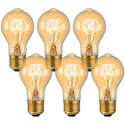TORCHSTAR Dimmable A19 Vintage Edison Bulbs, 60W Antique Squirrel Cage Filament Light Bulb, E26 Base, for Pendant, Restaurant, Lantern, Wall Scone, Home Light Fixtures Decorative, Pack of 6 - Wall Light Quad
