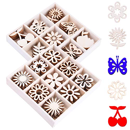 Ancefine 90 Pieces Mini Laser Cuts Wood Shapes Bundles Unfinished Wooden Scrapbooking Embellishments Flower and Butterfly Themed for Card Gift Tag Home Decoration ()