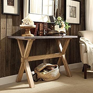 Signal Hills Zinc Table Top Weathered Oak Trestle Stand Console Table