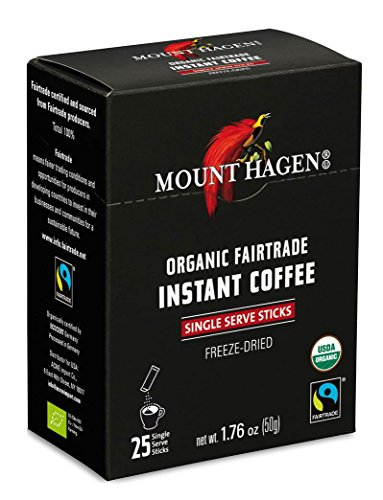 - Mount Hagen Organic Instant Regular Coffee, 25 Count Single Serve packet Net wt 1.76 oz (50g)
