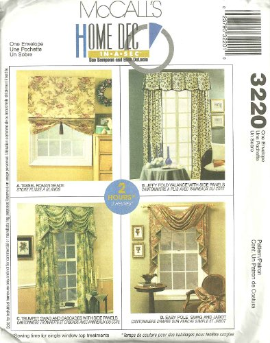 Home Decor Pattern Valances (McCall's 3220 Sewing Pattern Home Dec In A Sec Window Treatments)