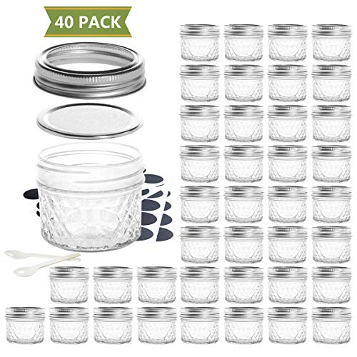 SXUDA Mason Jar BPA-Free 4oz Mini Canning Jars with Regular Lids and Bands Jelly Jars for Jam, Honey, Wedding Favors, Shower Favors, Baby Foods, DIY Magnetic Spice Jars, 40 PACK -