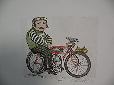 "Art print Charles Bragg Color Lithograph Duotone ""The cyclist"" Hand Signed new"