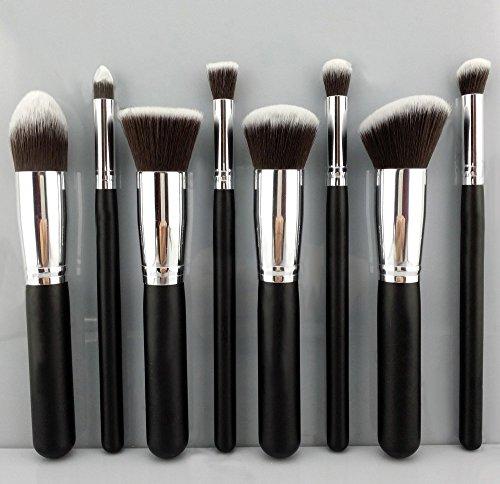 Набор профессиональных кистей для макияжа BESTOPE, 8 шт. (BESTOPE Premium Synthetic Kabuki Makeup Brush Set, 8pcs, Silver Black)
