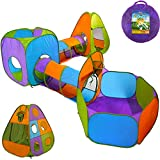 Playz 3-Piece Kids Play Tent Crawl Tunnel and Ball Pit with Basketball Hoop