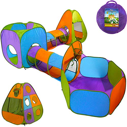 Playz 5-Piece Kids Pop up Play Tent Crawl Tunnel and Ball Pit with Basketball Hoop Playhouse for Boys, Girls, Babies, and Toddlers (Purple, Orange, Yellow, Red, -