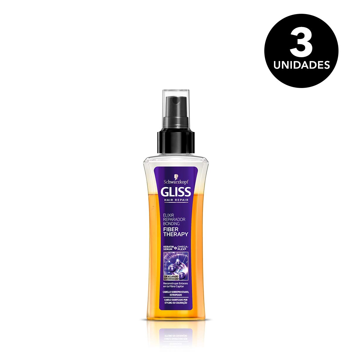 Gliss Fiber Therapy - Sérum bifásico - Elixir Reparador - 3 ud. de 100ml - Sin Aclarado para cabello sobreprocesado (plancha y/o tinte) - Schwarzkopf