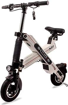 TIANQING Mini Scooter eléctrico Plegable, Motor eléctrico de Alta Velocidad sin escobillas de Bicicleta 500W, Afeitado de Tambor Delantero y Trasero + Freno electrónico EPS,White,50~60km: Amazon.es: Deportes y aire libre