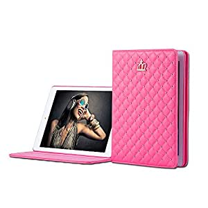 iPad Case,iPad 2 3 4 Case,Bestwo Embroidery Crown Design PU Leather Smart Protective Stand Case Cover with Auto Sleep/Wake for Apple iPad 2/3/4-Rose Red(9.7 Inch)