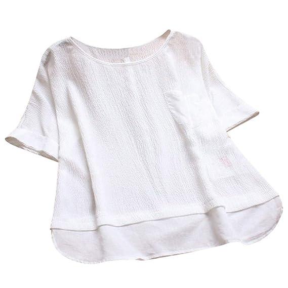 Camiseta Mujer Manga Corta Moda para Tallas Grandes Verano O ...