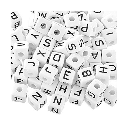 [YF] アクリル珠 アルファベットビーズ ローマ字 ブレスレット ネックレス ジュエリー手作りパーツ 立方体 アクリル珠10x10mm(3/8`)-100個の商品画像