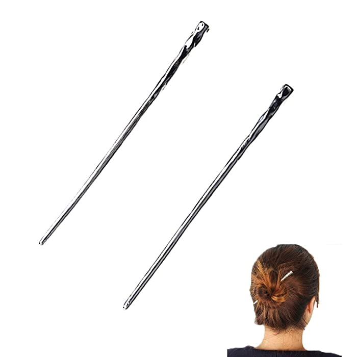 YILE Set of 2 Hair Sticks Chinese Hairpin Metal Hair Accessories Classic Hair Accessories for Women Lady Girls (Silver)