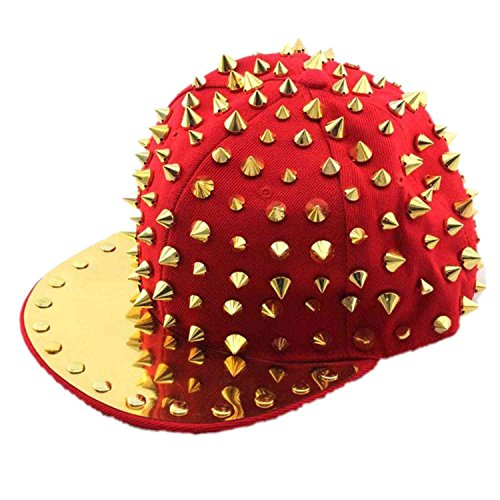 Flyme®Fashion Rivet Caps, Hip - Hop Hats, Sequined Baseball Cap (Red +Gold Nails) (Red Sequined Baseball Cap)