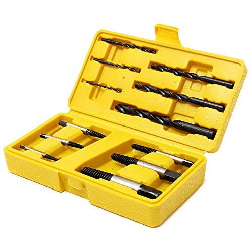 Hitommy 12pcs Damaged Nut Screw Extractor Bolt Stud Remover Tool Set with Drills