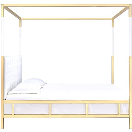 Amazon Com Four Poster Bed Canopy Queen Gold White Button Tufted